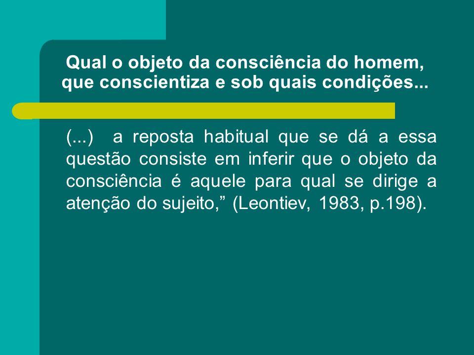 Qual o objeto da consciência do homem, que conscientiza e sob quais condições...