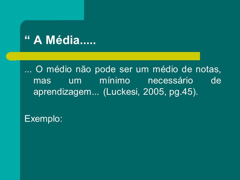 A Média..... ... O médio não pode ser um médio de notas, mas um mínimo necessário de aprendizagem... (Luckesi, 2005, pg.45).