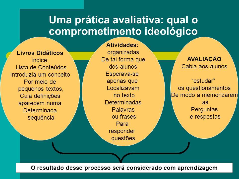 Uma prática avaliativa: qual o comprometimento ideológico