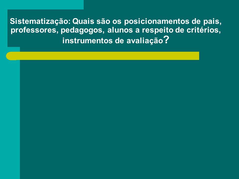 Sistematização: Quais são os posicionamentos de pais, professores, pedagogos, alunos a respeito de critérios, instrumentos de avaliação