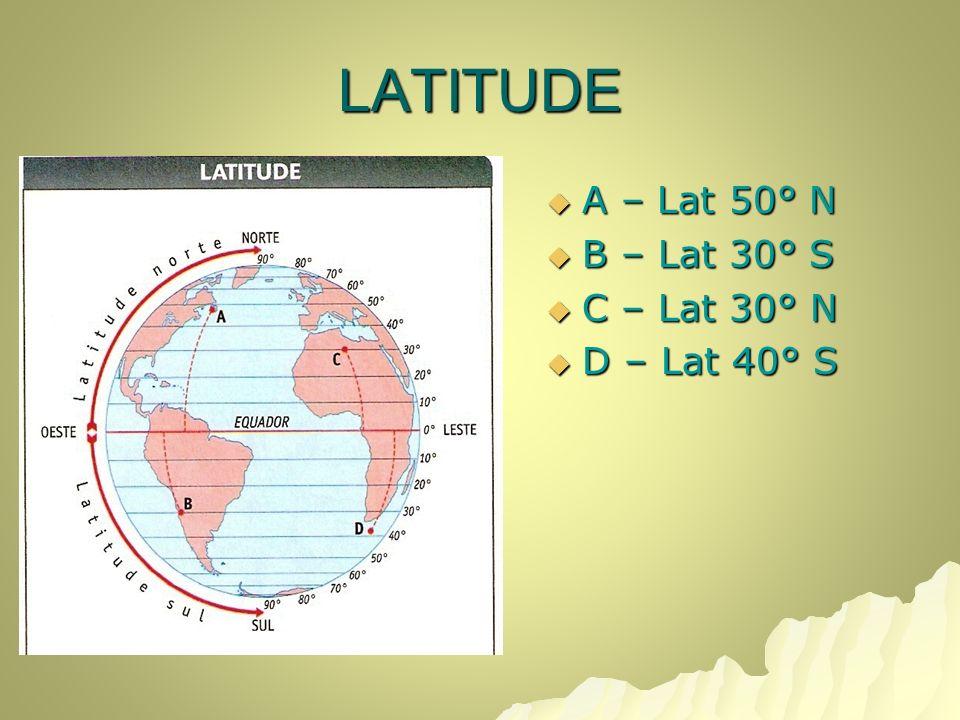 LATITUDE A – Lat 50° N B – Lat 30° S C – Lat 30° N D – Lat 40° S