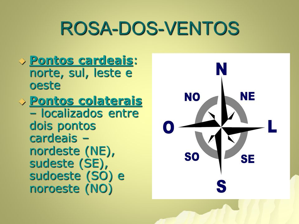 ROSA-DOS-VENTOS Pontos cardeais: norte, sul, leste e oeste