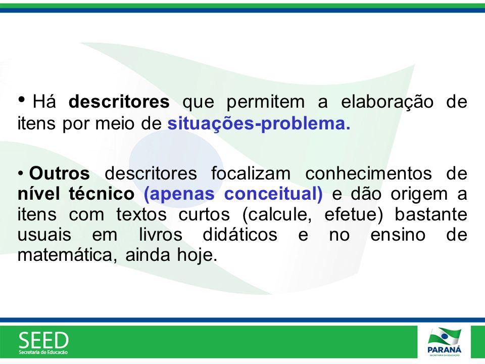 Há descritores que permitem a elaboração de itens por meio de situações-problema.