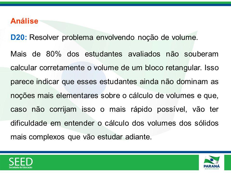 Análise D20: Resolver problema envolvendo noção de volume.