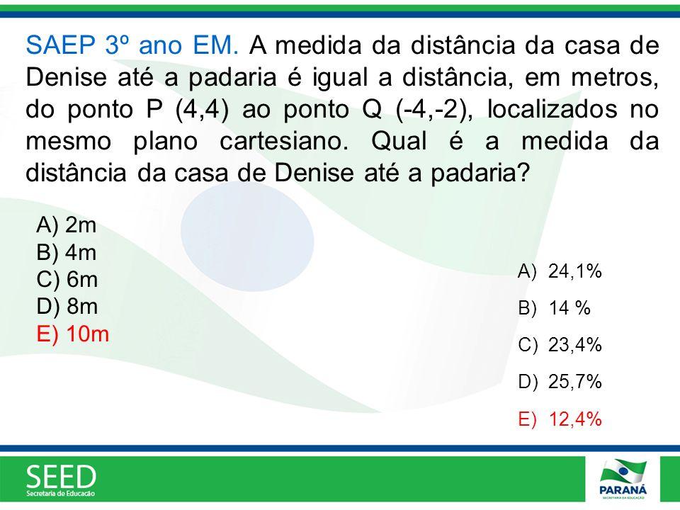 SAEP 3º ano EM. A medida da distância da casa de Denise até a padaria é igual a distância, em metros, do ponto P (4,4) ao ponto Q (-4,-2), localizados no mesmo plano cartesiano. Qual é a medida da distância da casa de Denise até a padaria