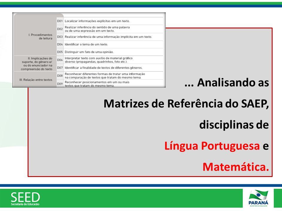 ... Analisando as Matrizes de Referência do SAEP, disciplinas de Língua Portuguesa e Matemática.