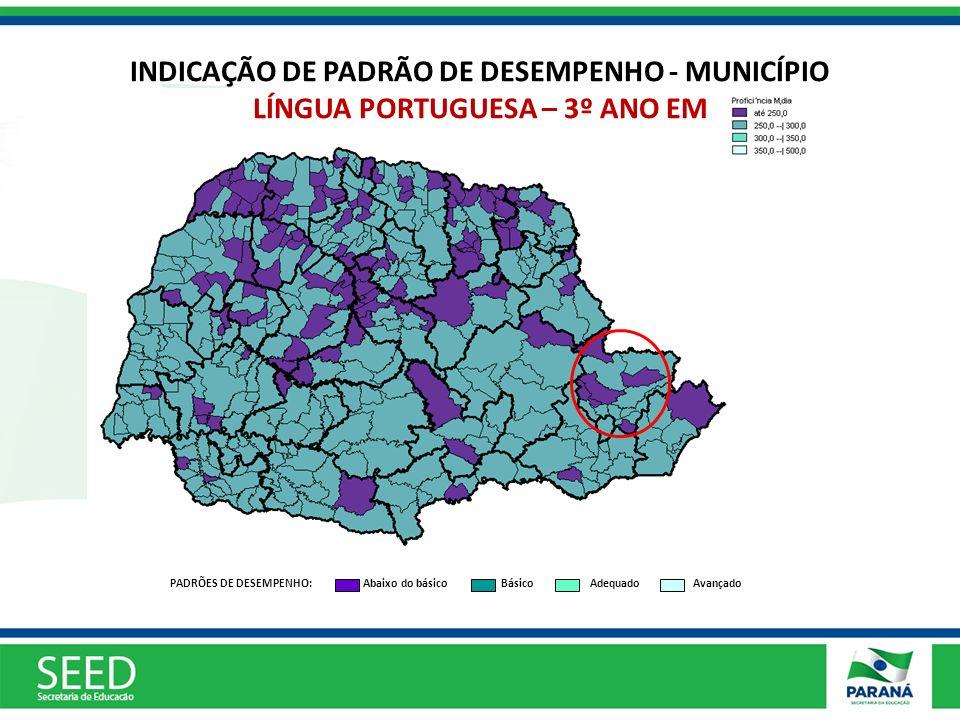 INDICAÇÃO DE PADRÃO DE DESEMPENHO - MUNICÍPIO LÍNGUA PORTUGUESA – 3º ANO EM
