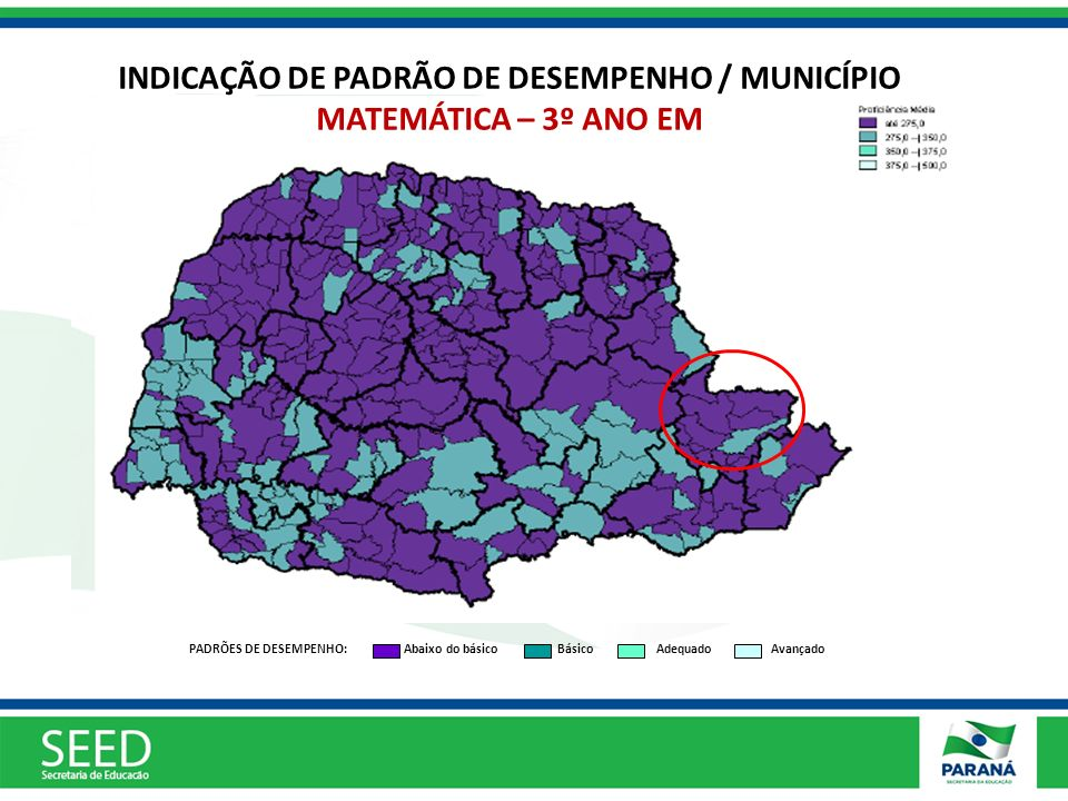 INDICAÇÃO DE PADRÃO DE DESEMPENHO / MUNICÍPIO MATEMÁTICA – 3º ANO EM