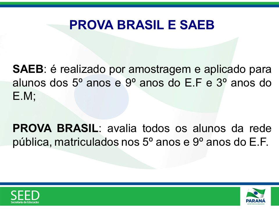 PROVA BRASIL E SAEB SAEB: é realizado por amostragem e aplicado para alunos dos 5º anos e 9º anos do E.F e 3º anos do E.M;