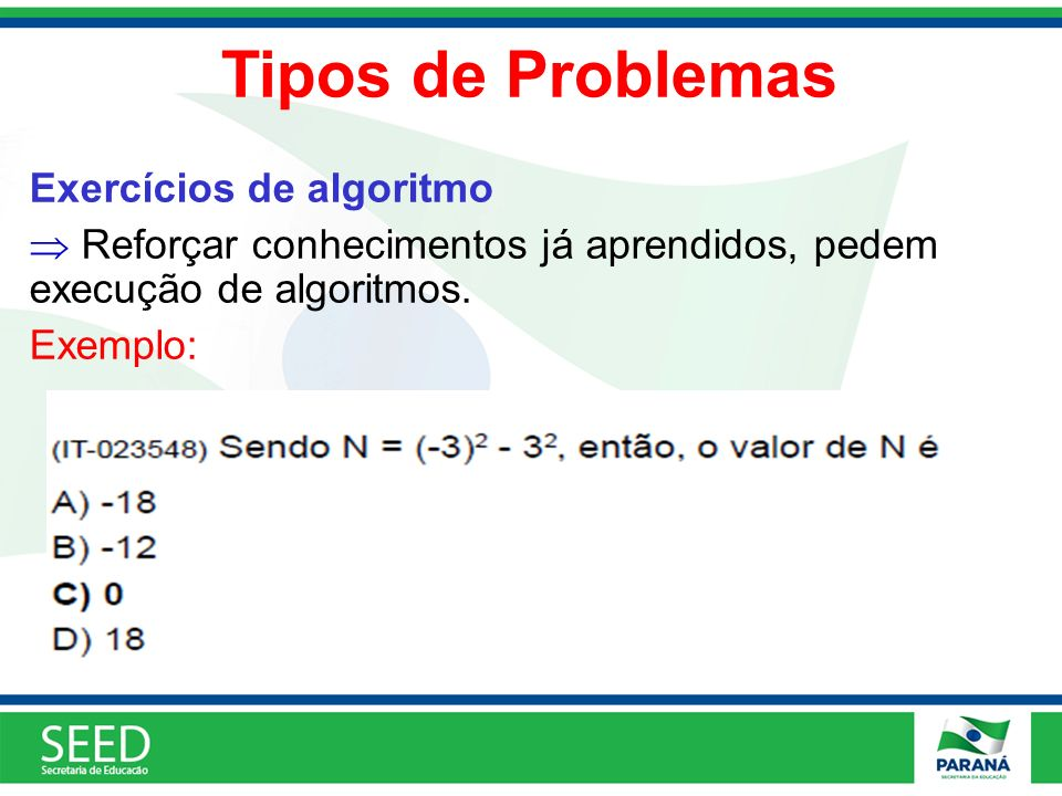 Tipos de Problemas Exercícios de algoritmo