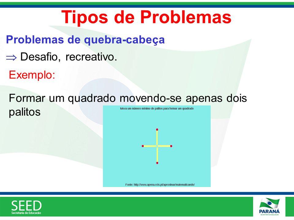 Tipos de Problemas Problemas de quebra-cabeça Desafio, recreativo.