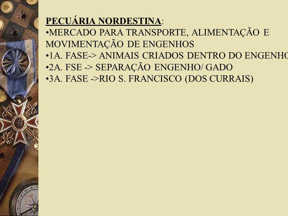 PECUÁRIA NORDESTINA: MERCADO PARA TRANSPORTE, ALIMENTAÇÃO E. MOVIMENTAÇÃO DE ENGENHOS. 1A. FASE-> ANIMAIS CRIADOS DENTRO DO ENGENHO.