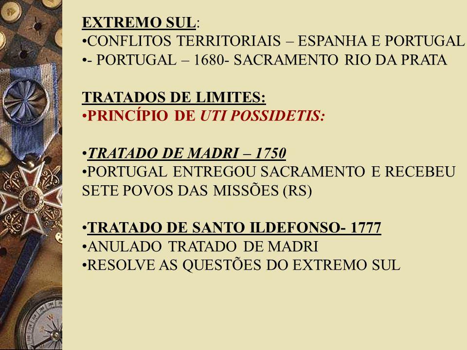 EXTREMO SUL: CONFLITOS TERRITORIAIS – ESPANHA E PORTUGAL. - PORTUGAL – 1680- SACRAMENTO RIO DA PRATA.
