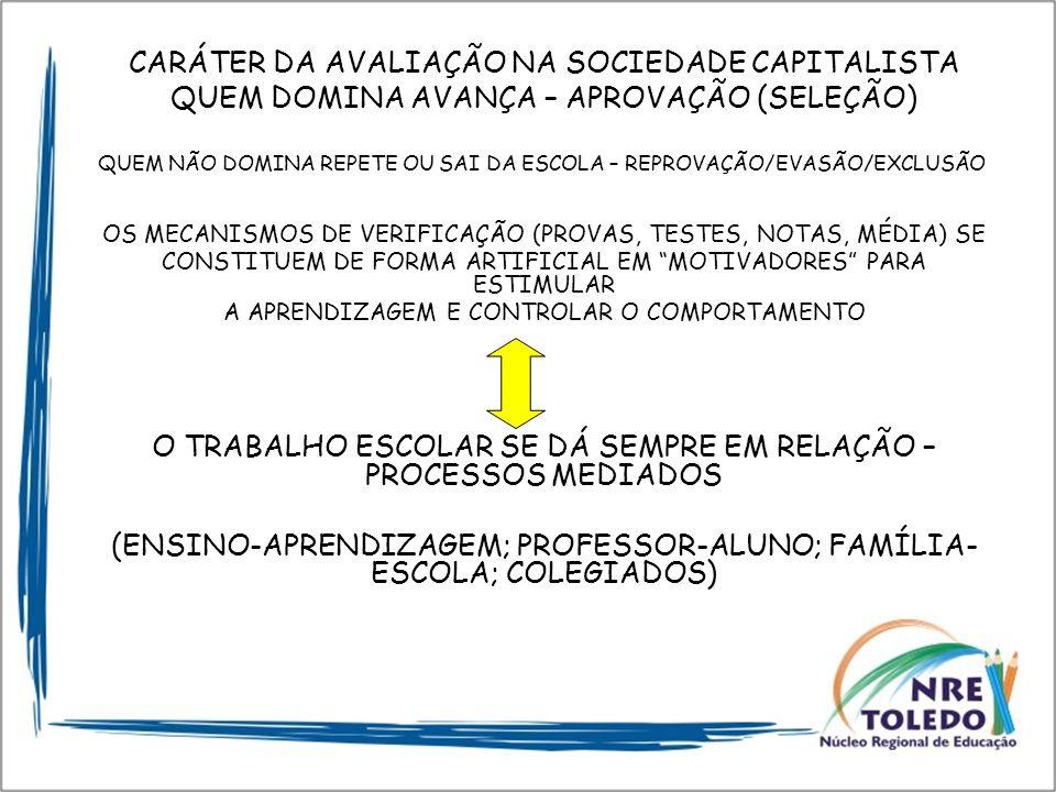 CARÁTER DA AVALIAÇÃO NA SOCIEDADE CAPITALISTA