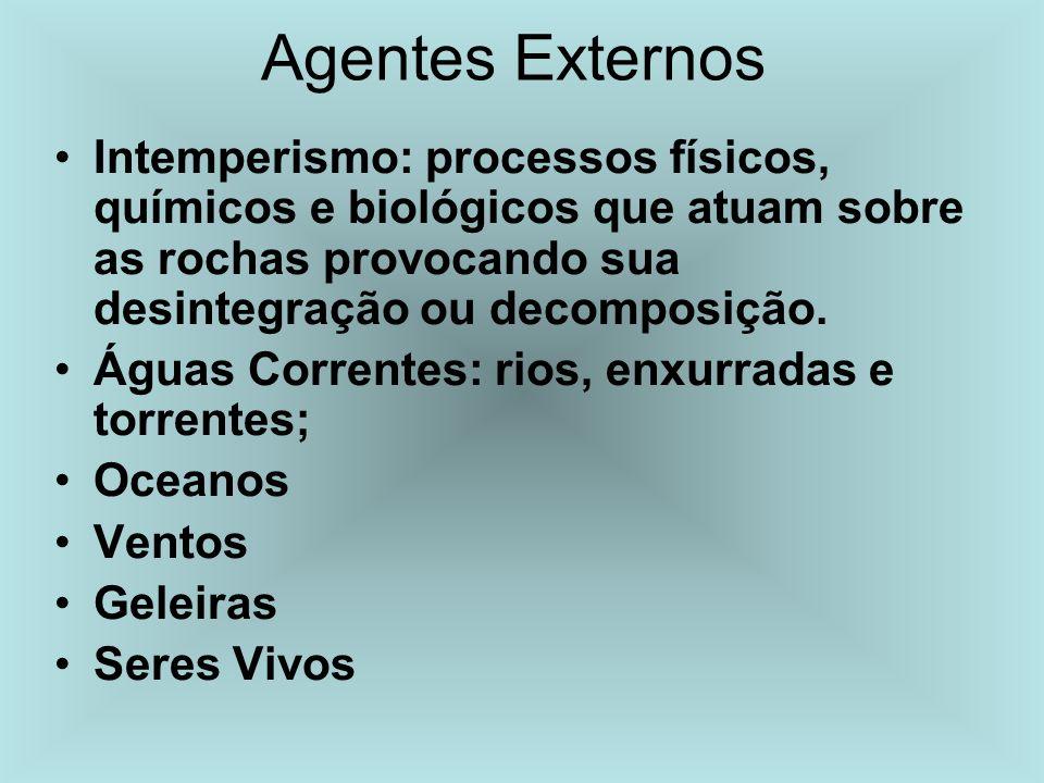 Agentes Externos Intemperismo: processos físicos, químicos e biológicos que atuam sobre as rochas provocando sua desintegração ou decomposição.