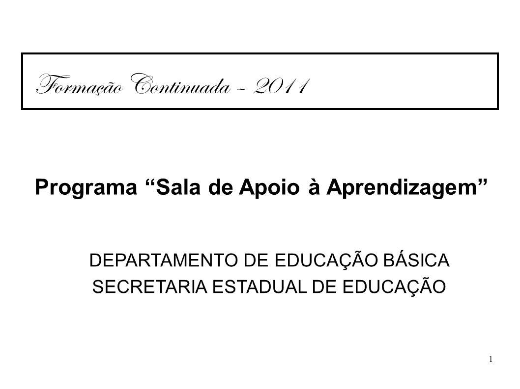 Formação Continuada – 2011 Programa Sala de Apoio à Aprendizagem