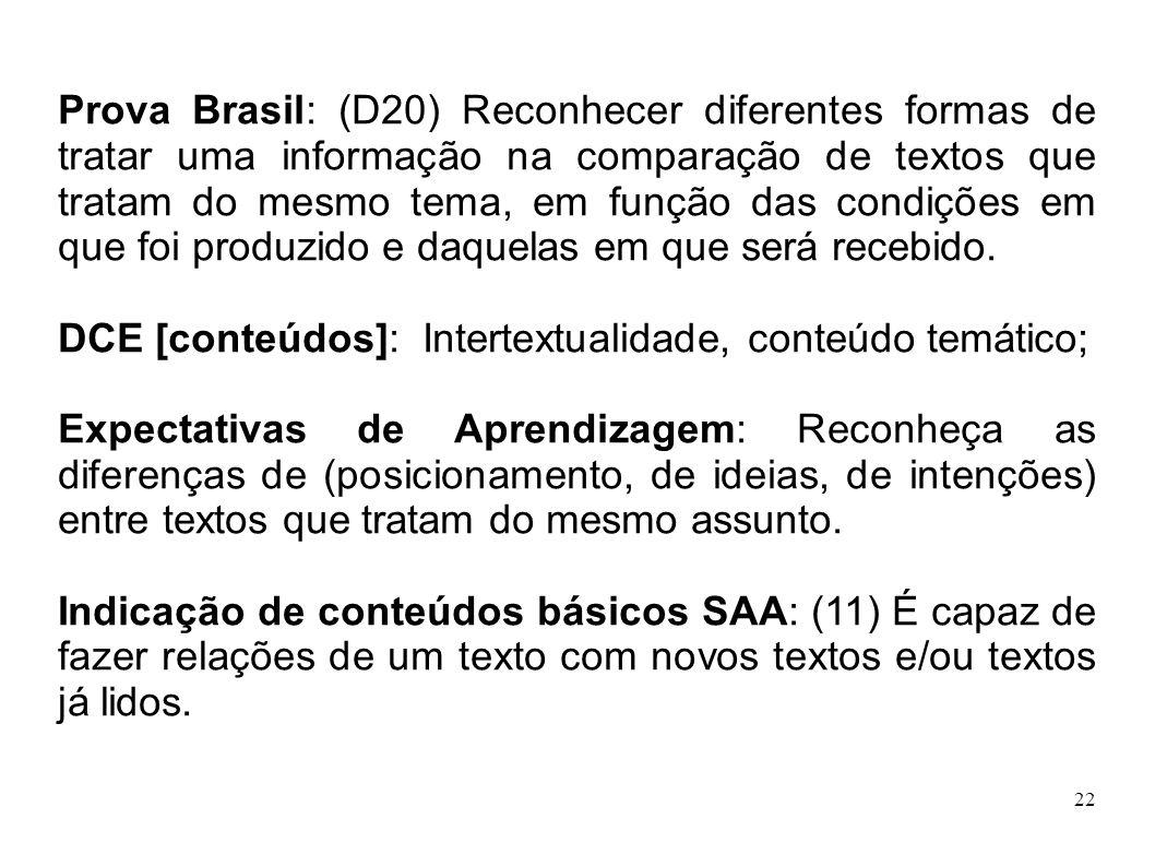 Prova Brasil: (D20) Reconhecer diferentes formas de tratar uma informação na comparação de textos que tratam do mesmo tema, em função das condições em que foi produzido e daquelas em que será recebido.