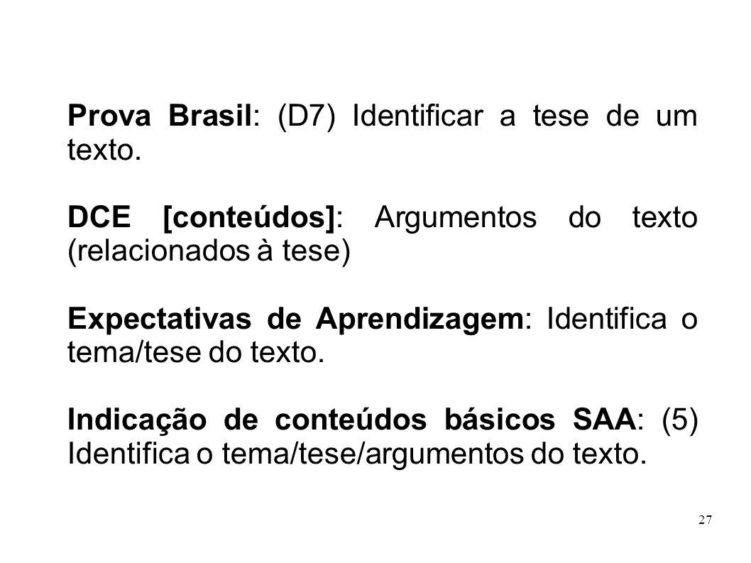 Prova Brasil: (D7) Identificar a tese de um texto.