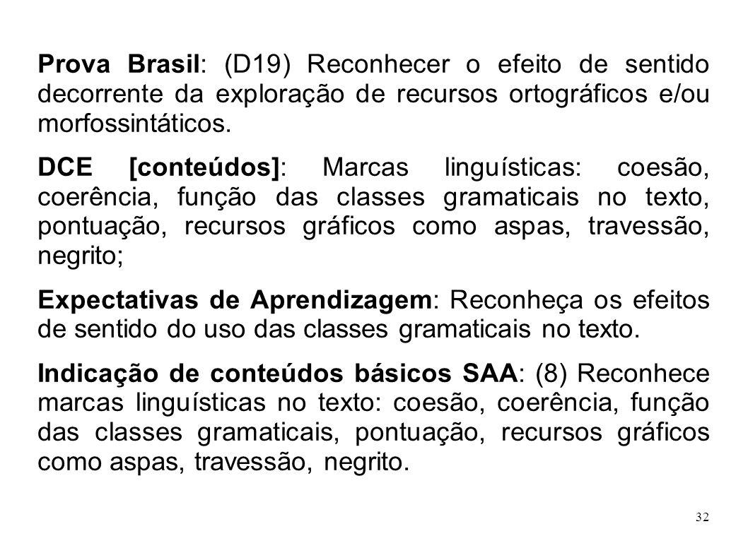 Prova Brasil: (D19) Reconhecer o efeito de sentido decorrente da exploração de recursos ortográficos e/ou morfossintáticos.