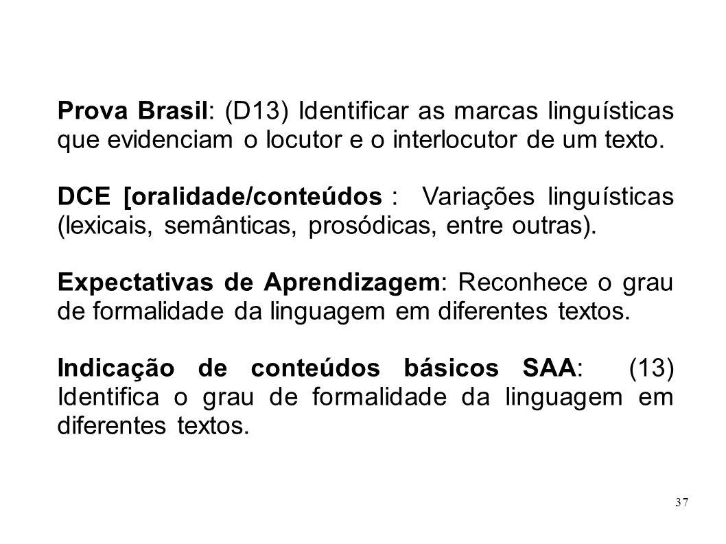 Prova Brasil: (D13) Identificar as marcas linguísticas que evidenciam o locutor e o interlocutor de um texto.