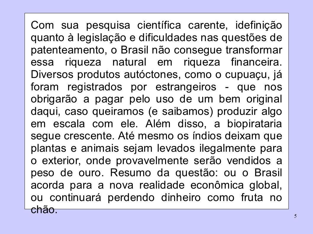 Com sua pesquisa científica carente, idefinição quanto à legislação e dificuldades nas questões de patenteamento, o Brasil não consegue transformar essa riqueza natural em riqueza financeira.