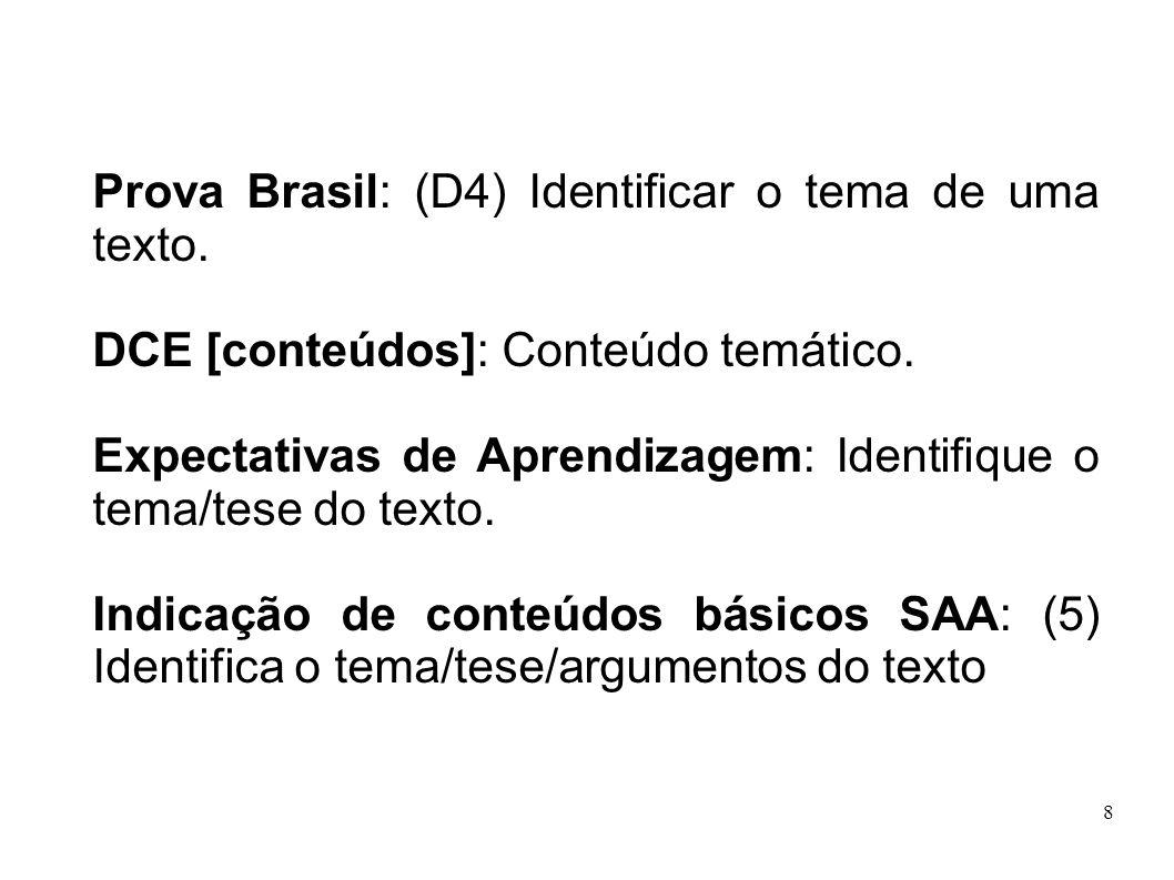 Prova Brasil: (D4) Identificar o tema de uma texto.