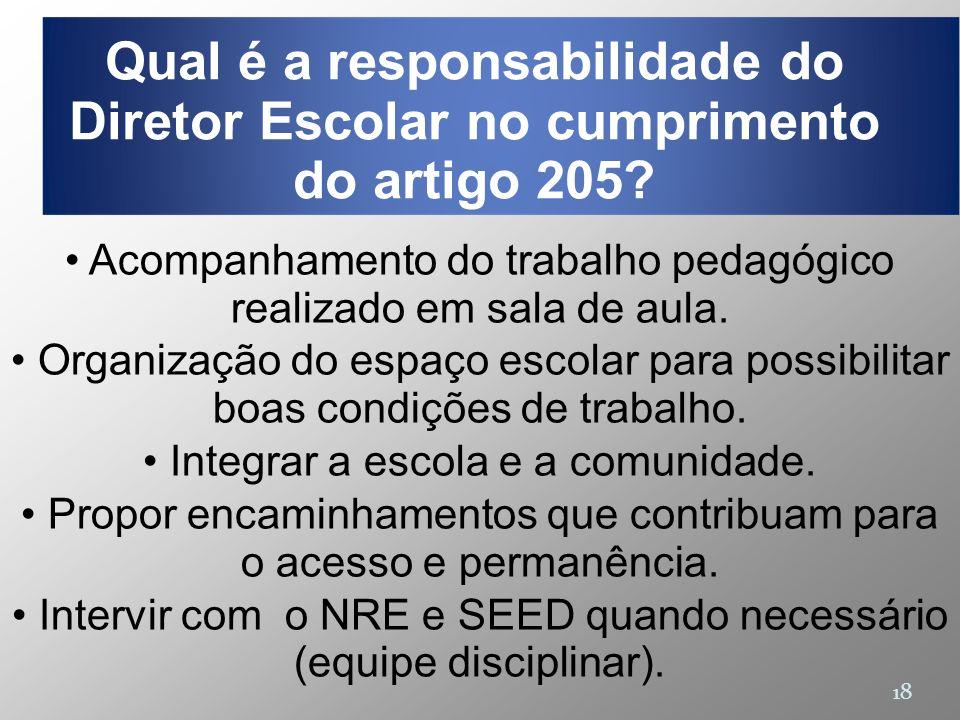 Qual é a responsabilidade do Diretor Escolar no cumprimento do artigo 205
