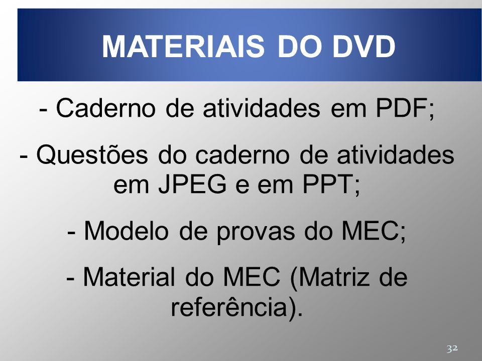 MATERIAIS DO DVD Caderno de atividades em PDF;