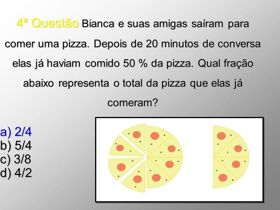 4ª Questão Bianca e suas amigas saíram para comer uma pizza