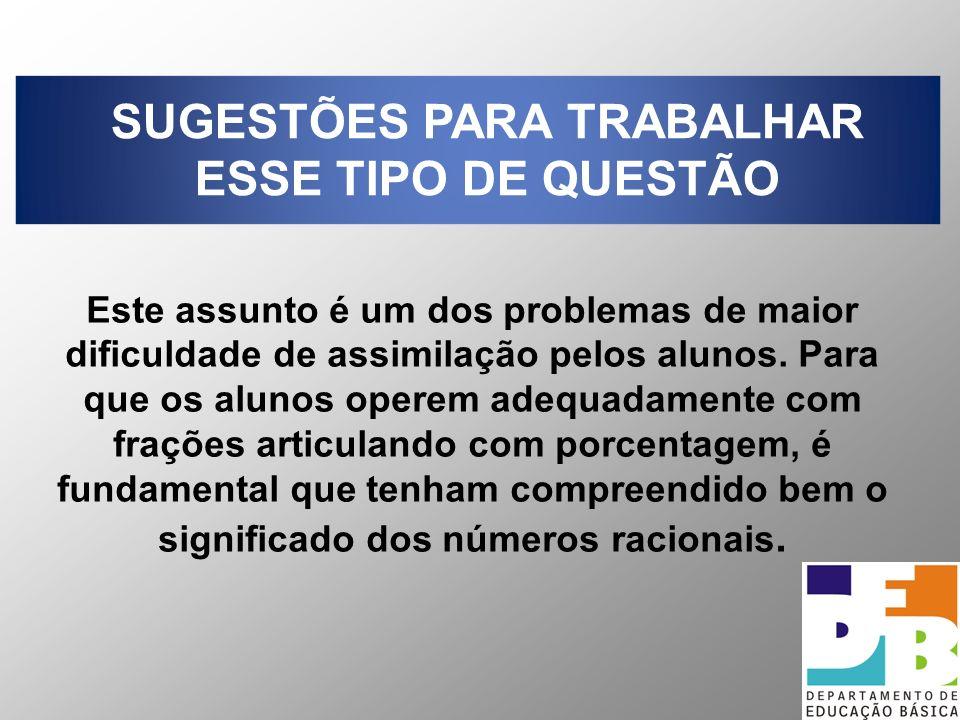 SUGESTÕES PARA TRABALHAR ESSE TIPO DE QUESTÃO