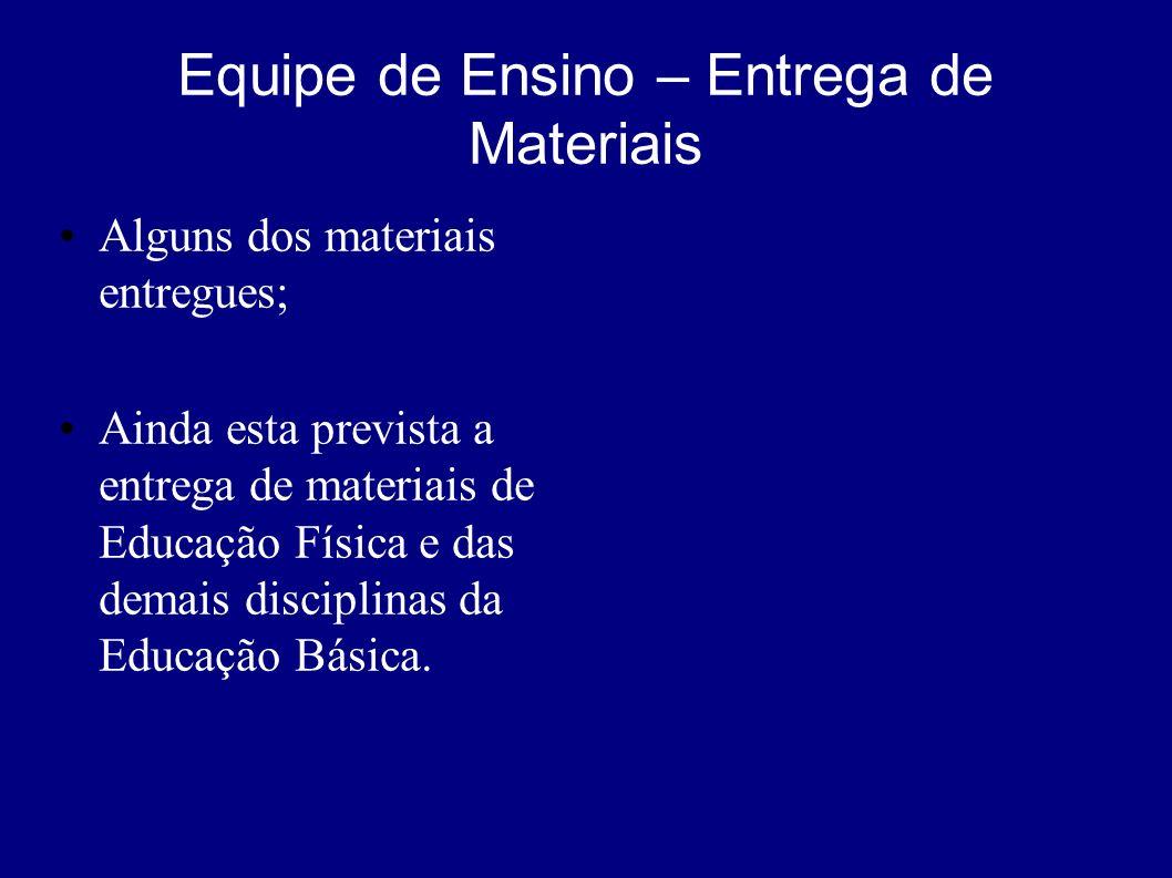 Equipe de Ensino – Entrega de Materiais