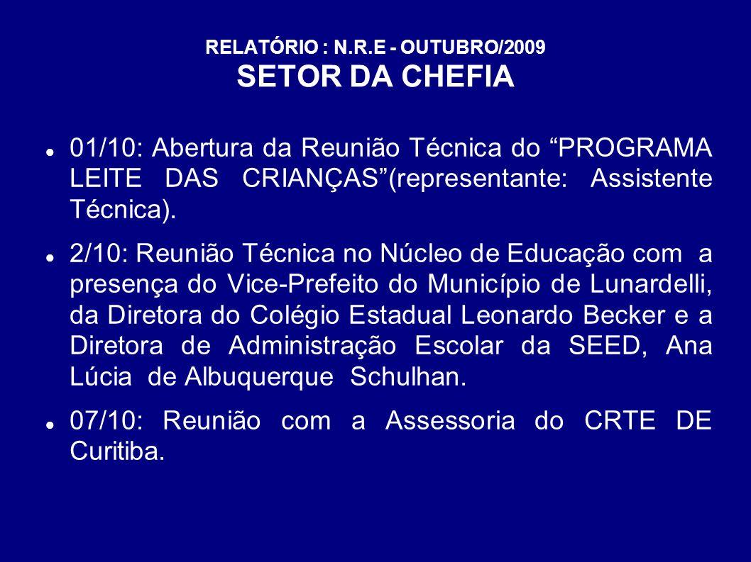 RELATÓRIO : N.R.E - OUTUBRO/2009 SETOR DA CHEFIA