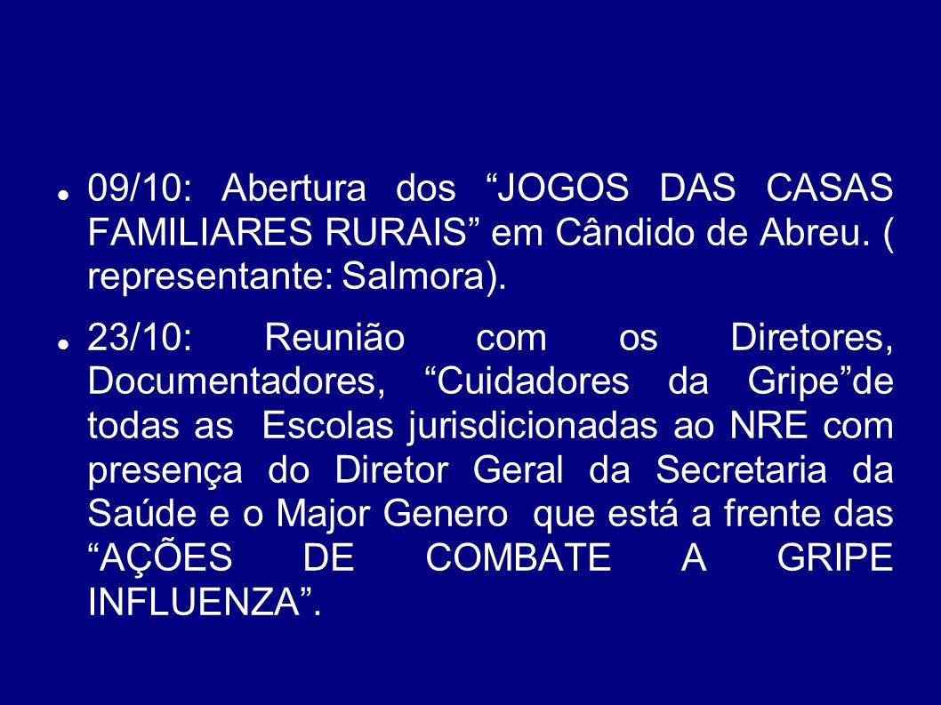 09/10: Abertura dos JOGOS DAS CASAS FAMILIARES RURAIS em Cândido de Abreu. ( representante: Salmora).