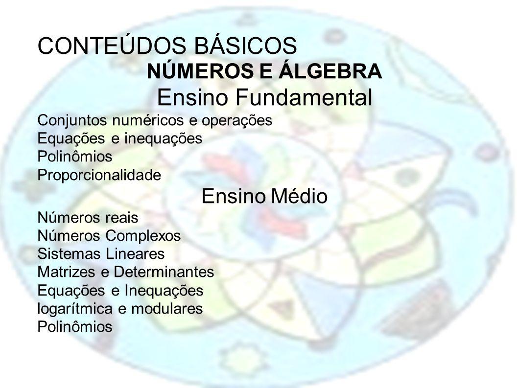 CONTEÚDOS BÁSICOS Ensino Fundamental NÚMEROS E ÁLGEBRA Ensino Médio