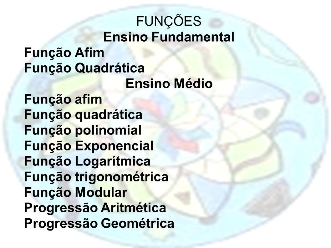 FUNÇÕES Ensino Fundamental. Função Afim. Função Quadrática. Ensino Médio. Função afim. Função quadrática.