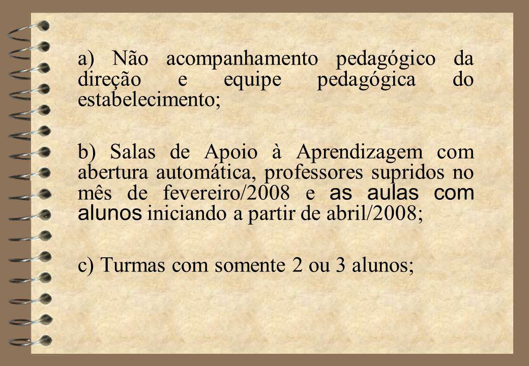 a) Não acompanhamento pedagógico da direção e equipe pedagógica do estabelecimento;