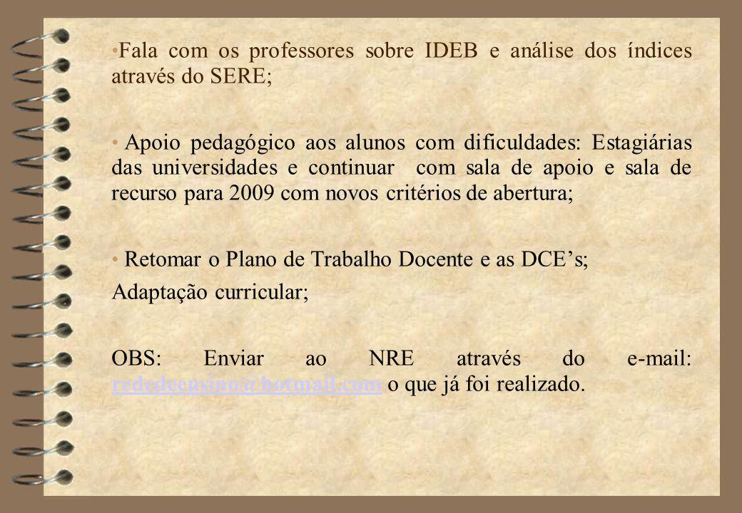 Fala com os professores sobre IDEB e análise dos índices através do SERE;