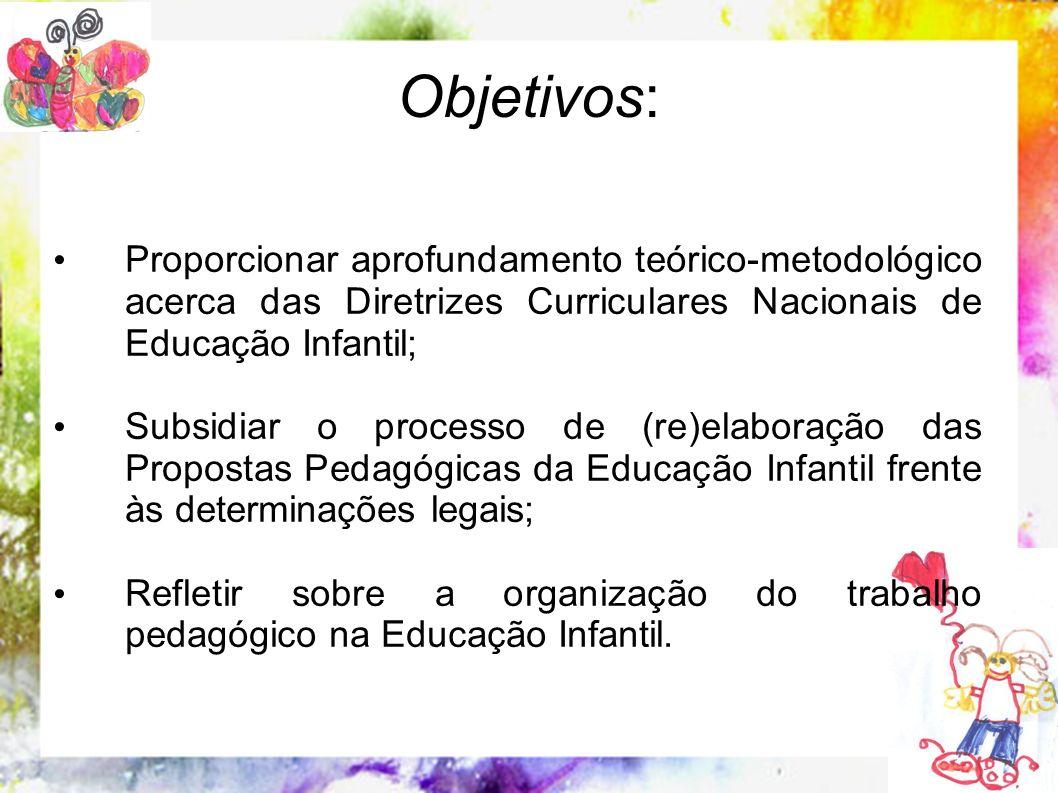 Objetivos: Proporcionar aprofundamento teórico-metodológico acerca das Diretrizes Curriculares Nacionais de Educação Infantil;