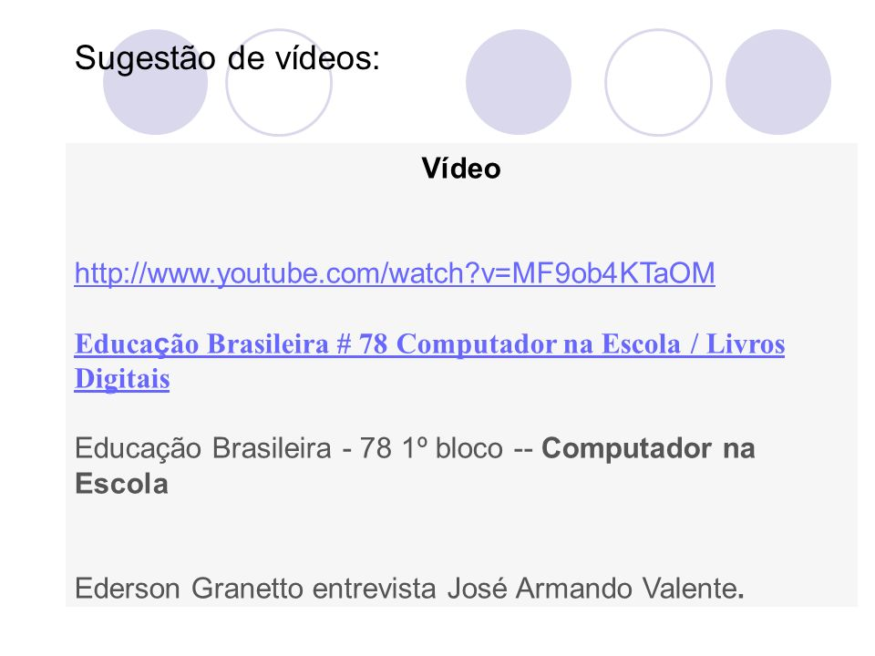 Sugestão de vídeos: Vídeo http://www.youtube.com/watch v=MF9ob4KTaOM