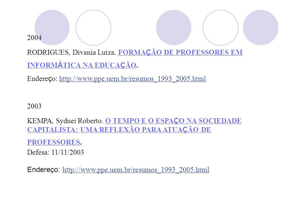 2004 RODRIGUES, Divania Luiza. FORMAÇÃO DE PROFESSORES EM INFORMÁTICA NA EDUCAÇÃO. Endereço: http://www.ppe.uem.br/resumos_1993_2005.html.