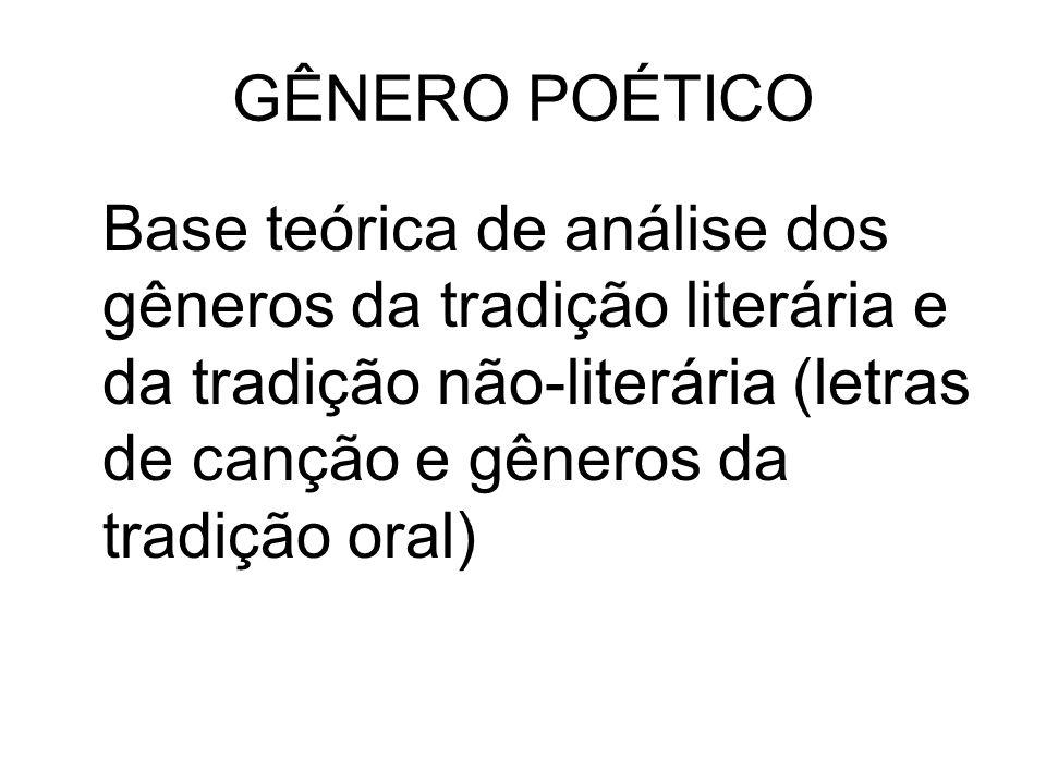 GÊNERO POÉTICO Base teórica de análise dos gêneros da tradição literária e da tradição não-literária (letras de canção e gêneros da tradição oral)