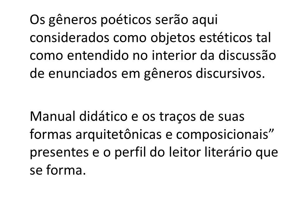 Os gêneros poéticos serão aqui considerados como objetos estéticos tal como entendido no interior da discussão de enunciados em gêneros discursivos.