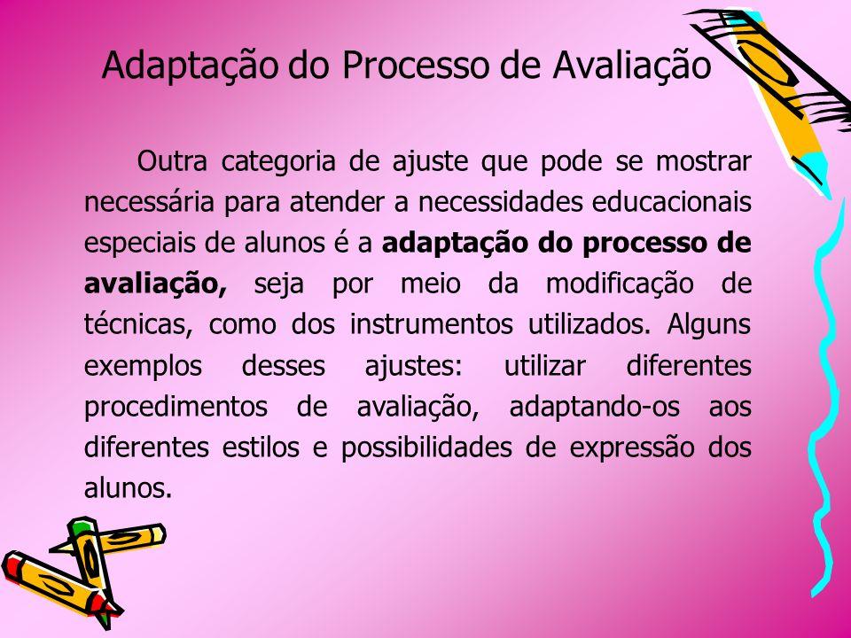 Adaptação do Processo de Avaliação