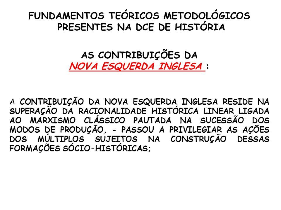 FUNDAMENTOS TEÓRICOS METODOLÓGICOS PRESENTES NA DCE DE HISTÓRIA