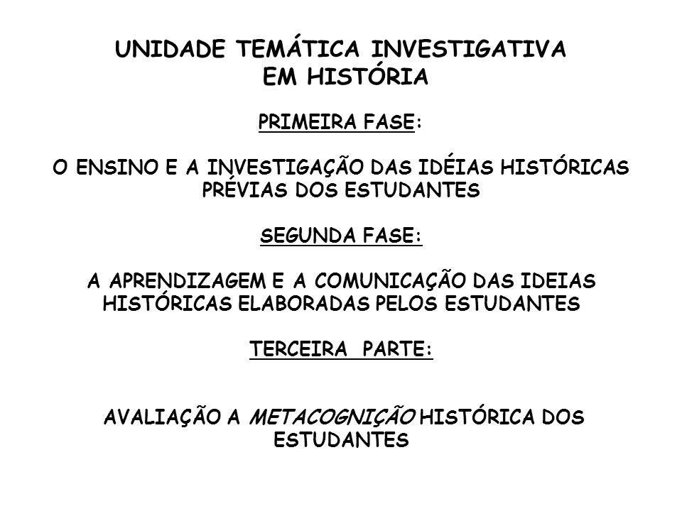 UNIDADE TEMÁTICA INVESTIGATIVA EM HISTÓRIA
