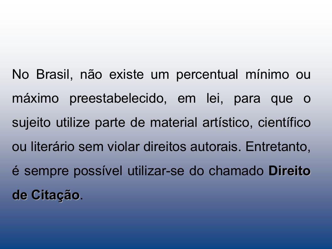 No Brasil, não existe um percentual mínimo ou máximo preestabelecido, em lei, para que o sujeito utilize parte de material artístico, científico ou literário sem violar direitos autorais. Entretanto, é sempre possível utilizar-se do chamado Direito de Citação.