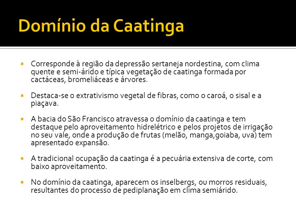 Domínio da Caatinga