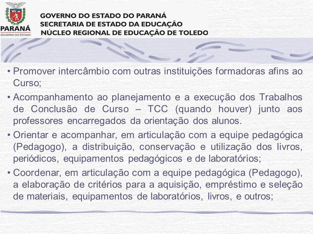 Promover intercâmbio com outras instituições formadoras afins ao Curso;