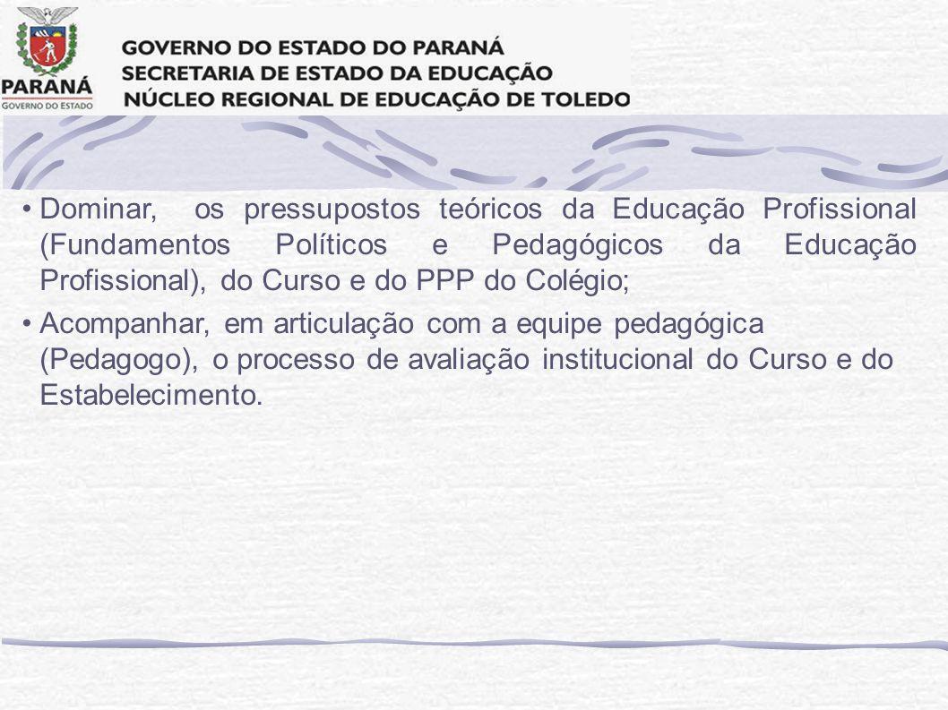 Dominar, os pressupostos teóricos da Educação Profissional (Fundamentos Políticos e Pedagógicos da Educação Profissional), do Curso e do PPP do Colégio;