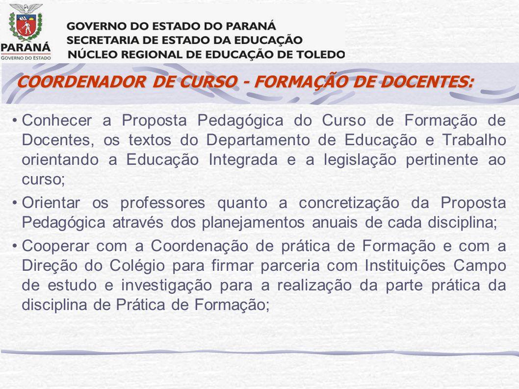 COORDENADOR DE CURSO - FORMAÇÃO DE DOCENTES: